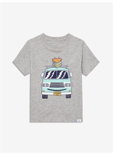 Gap Kısa Kollu Grafik T-Shirt Gri